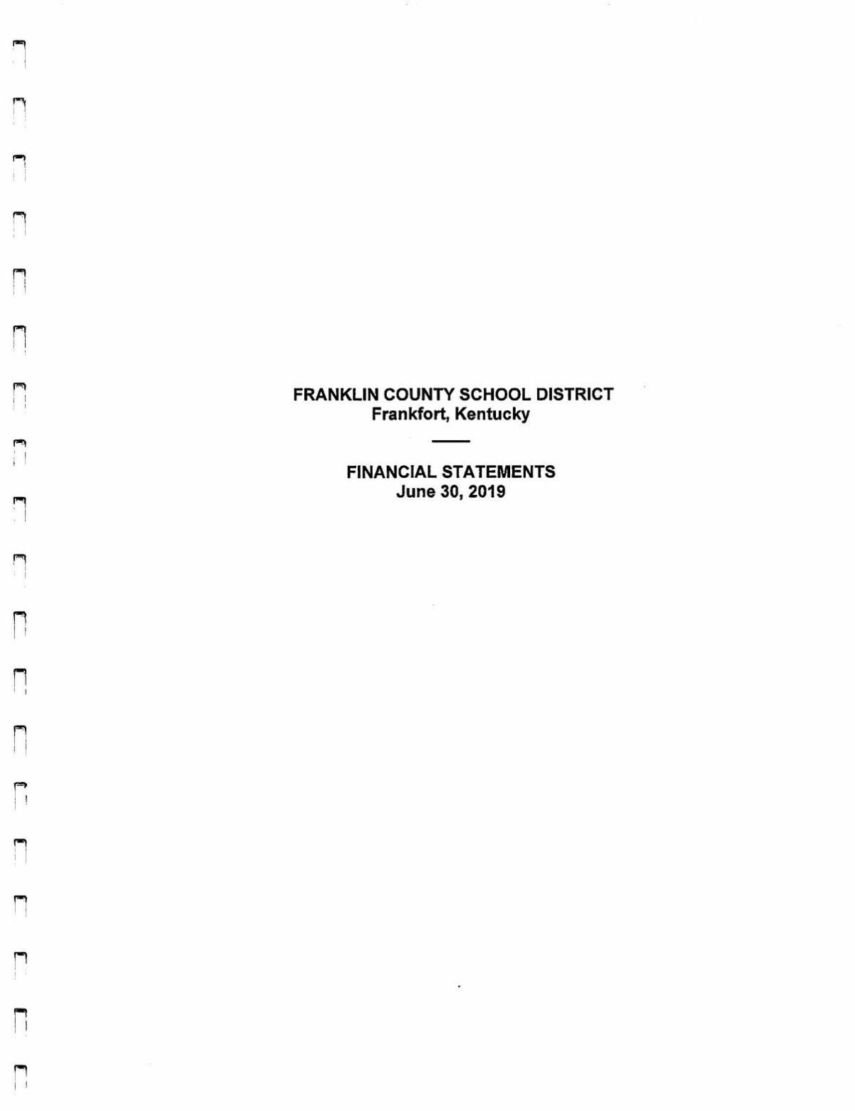 Franklin County Schools 2019 Financial Statements