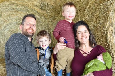 Adam Barr and Rae Strobel and their children