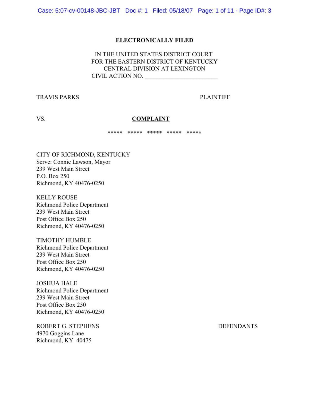 Travis Parks lawsuit against Kelly Rouse