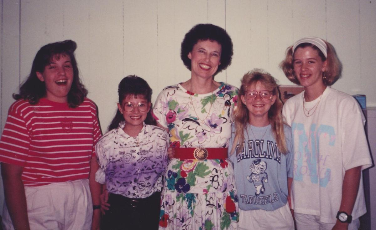 Libby Campbell and Harmony students, 1991.jpg