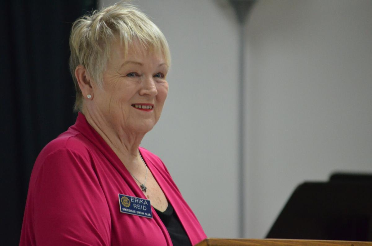 Statesville Civitan Club President Erika Reid address the group during its final meeting at Wesley Memorial United Methodist in Statesville on Tuesday.