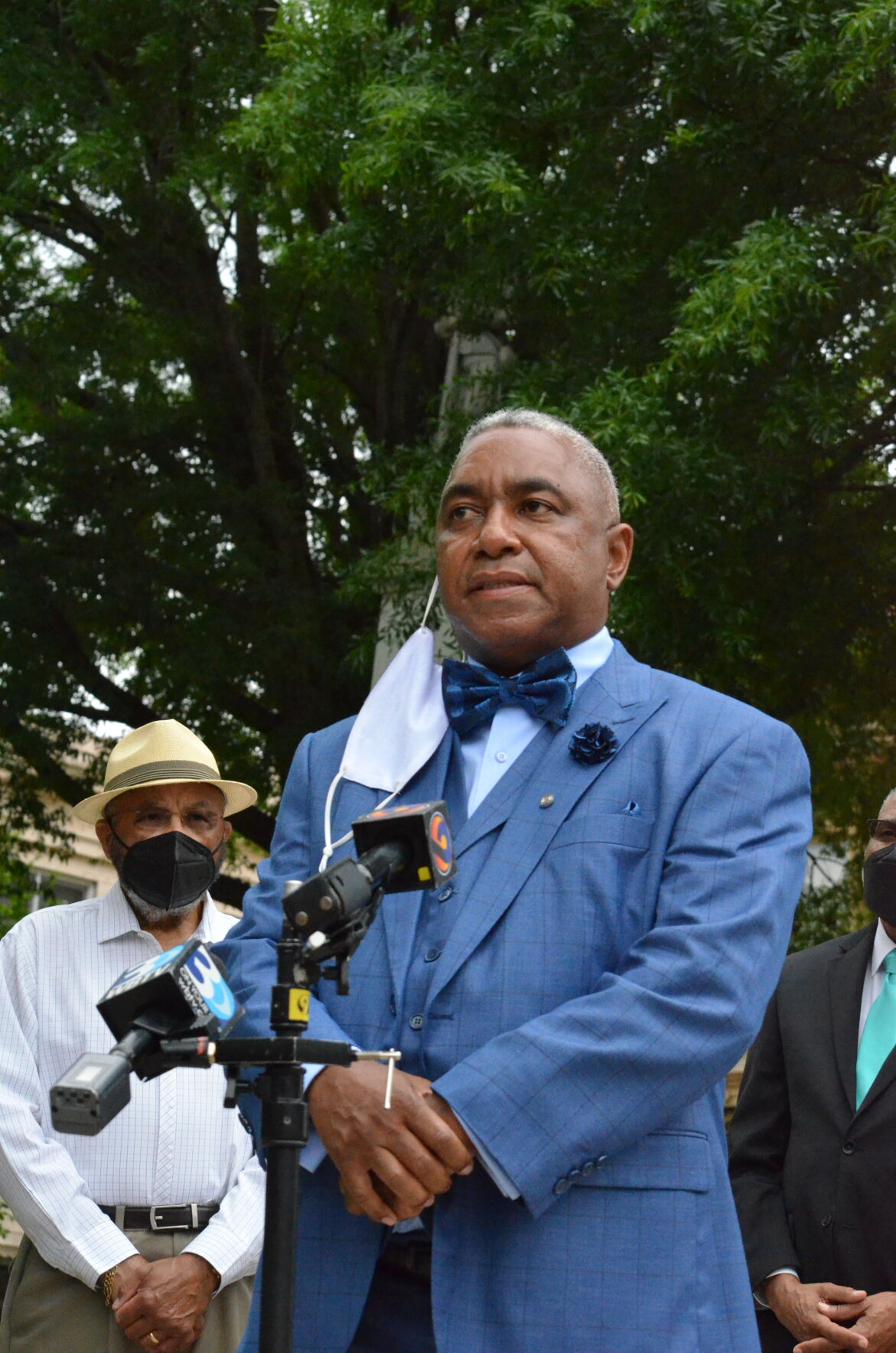 Todd Scott, the president of the Statesville chapter of the NAACP, speaks near the Iredell County Confederate Memorial Statue during a press conference on Tuesday in Statesville.