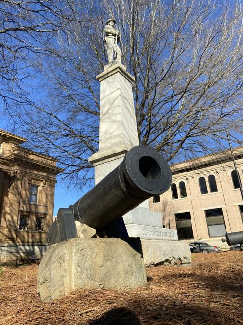 The Iredell County Confederate Memorial statue sits on the lawn of the Iredell County Government Center in Statesville.