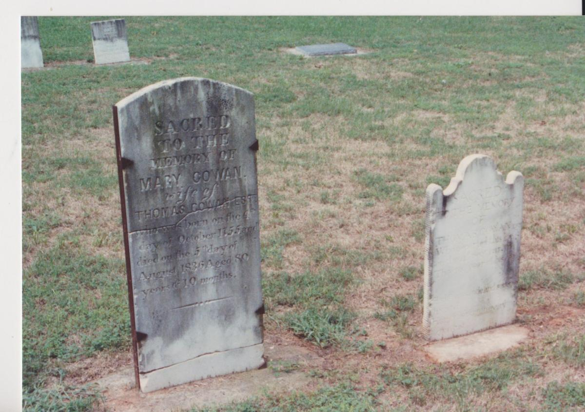 Headstones of Mary (left) and Thomas Cowan at Thyatira Church, Rowan County 001.jpg