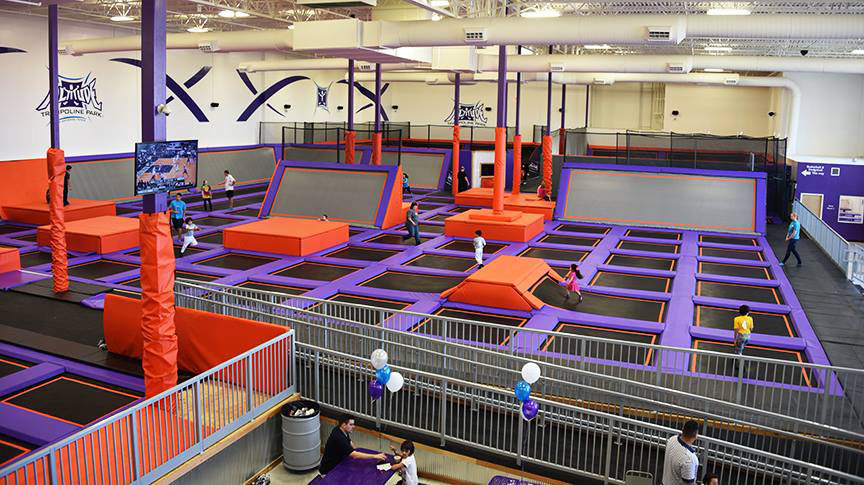 this photo shows the interior of an altitude trampoline park in san antonio texas