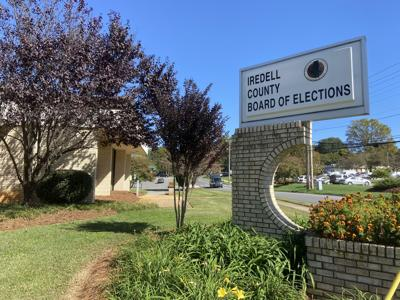 The sign for the Iredell County Board of Elections stands on Stockton Street in Statesville on Wednesday.