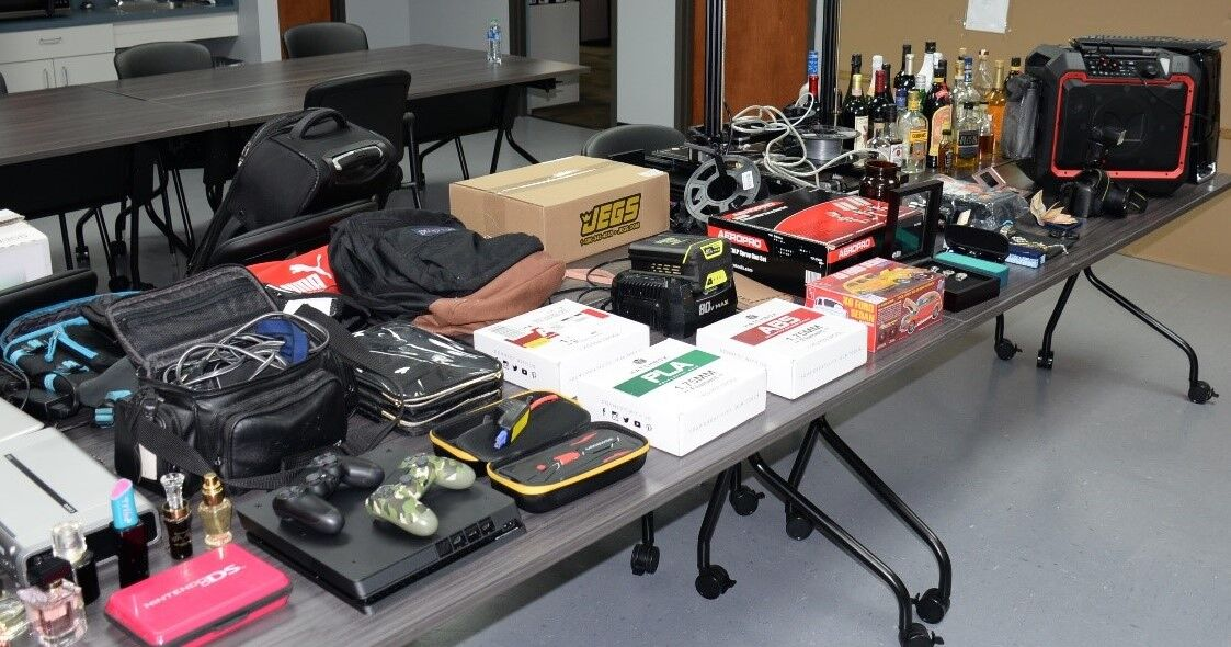 Stolen items displayed after being recovered by the Iredell County Sheriff's Office.