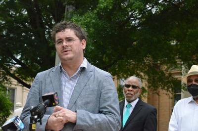 Rev. Robert Wright Lee IV speaks at a press conference at the Iredell County Government Center on Tuesday in Statesville.