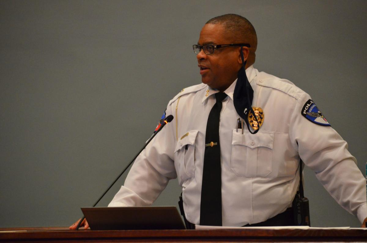 Statesville Police Chief David Addison speaks to city council during Monday's meeting in Statesville.