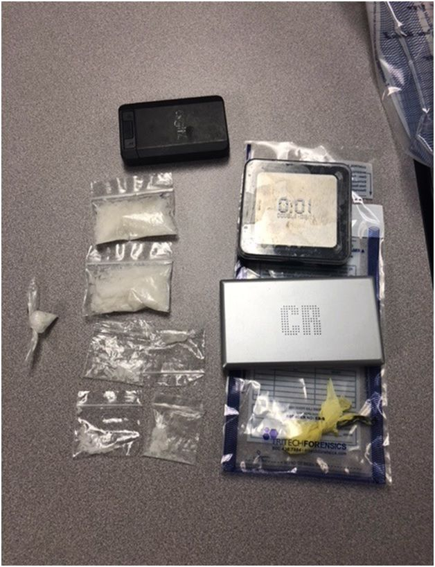 Two charged with trafficking meth, opioids at license