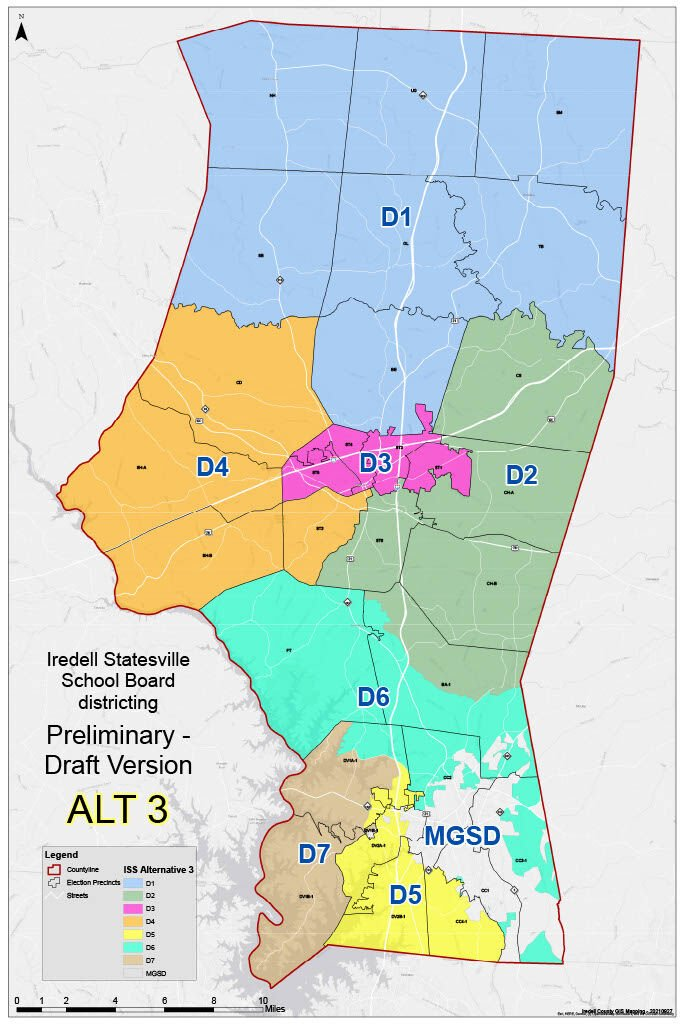 Iredell-Statesville Schools Board of Education redistricting map