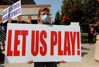 """""""Let them play"""" youth sports protest outside St. Louis County courthouse"""