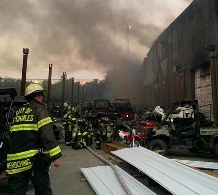 Four-alarm fire in St. Charles destroys motorsports building