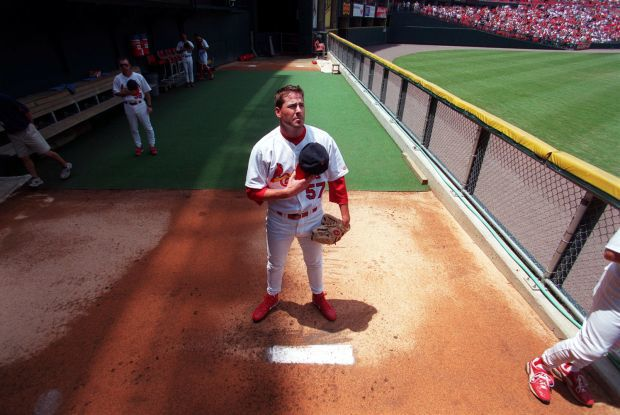 Darryl Kile stands in bullpen