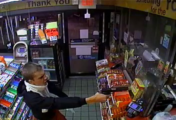 Screen grab of attempted robbery captured on surveillance video.