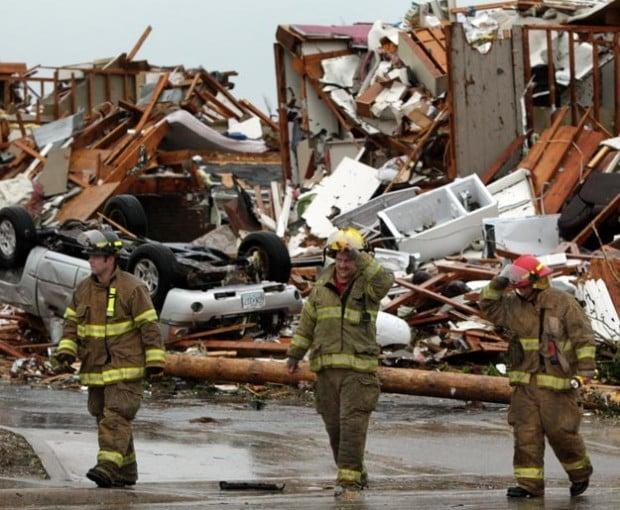 Firefighters prepare to work the Joplin tornado aftermath
