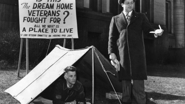 A Look Back • Returning WWII vets picketed City Hall to protest the tight housing market