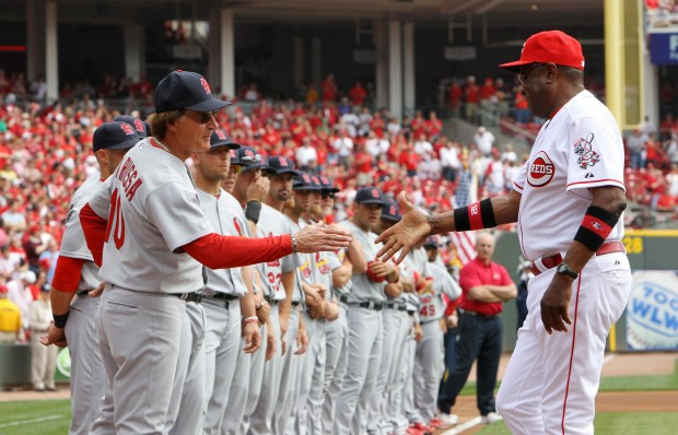 La Russa greets Baker before the game