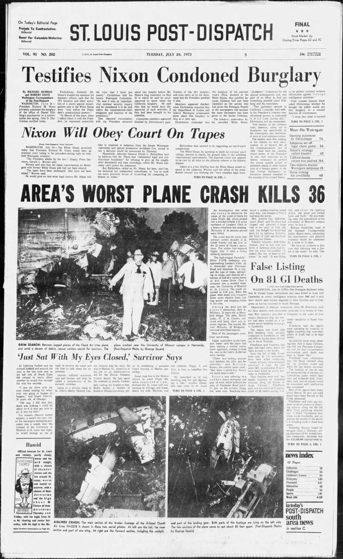 July 24, 1973 - Area's worst plane crash kills 36