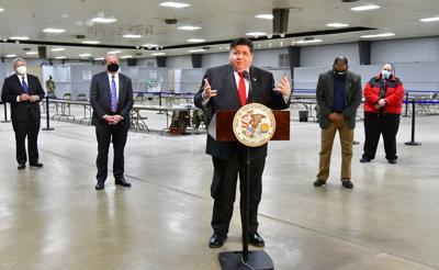 Illinois Governor J.B.Pritzker visits mass vaccination site in Belleville