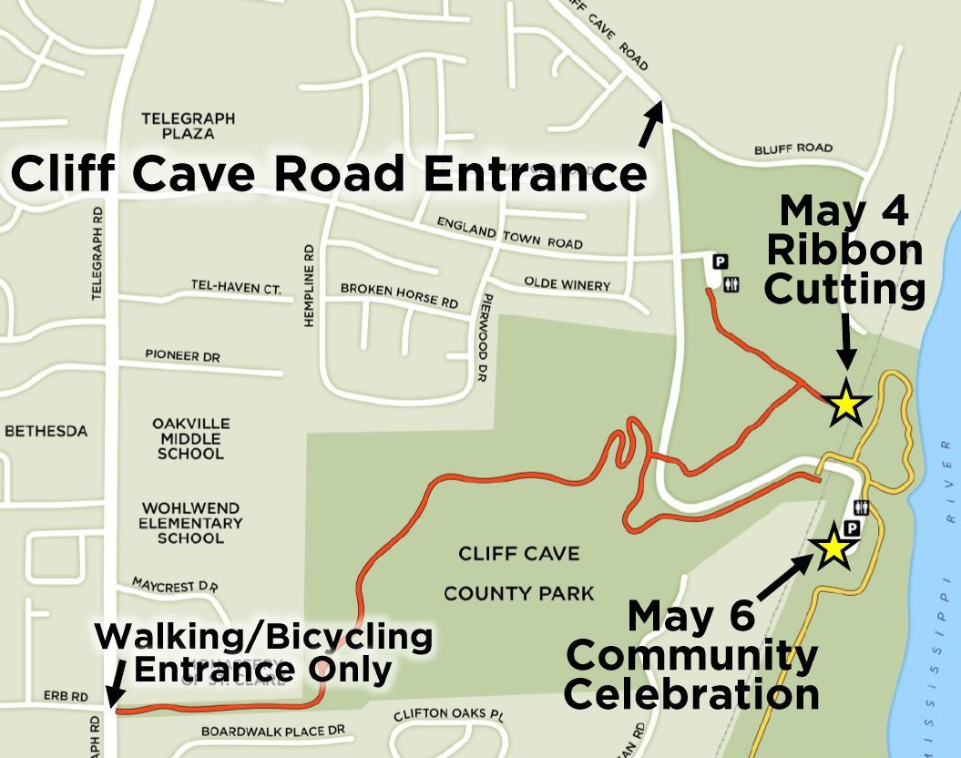 Cliff Cave County Park map