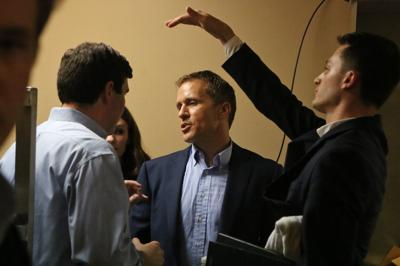 Eric Greitens talks with Austin Chambers during 2016 campaign