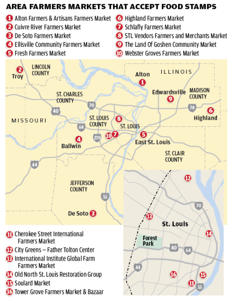 Area Farmers Markets That Accept Food Stamps map