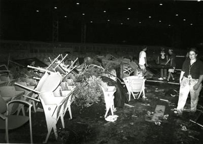 Damage from the Axl Rose riot at Riverport