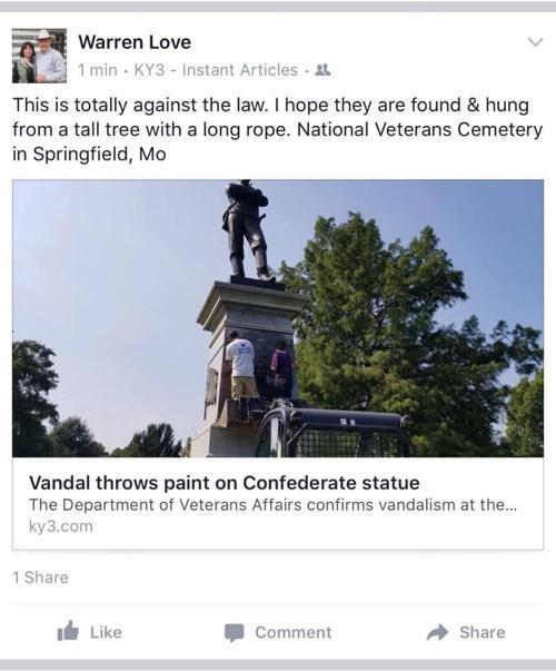 Missouri Rep. Warren Love's Facebook post