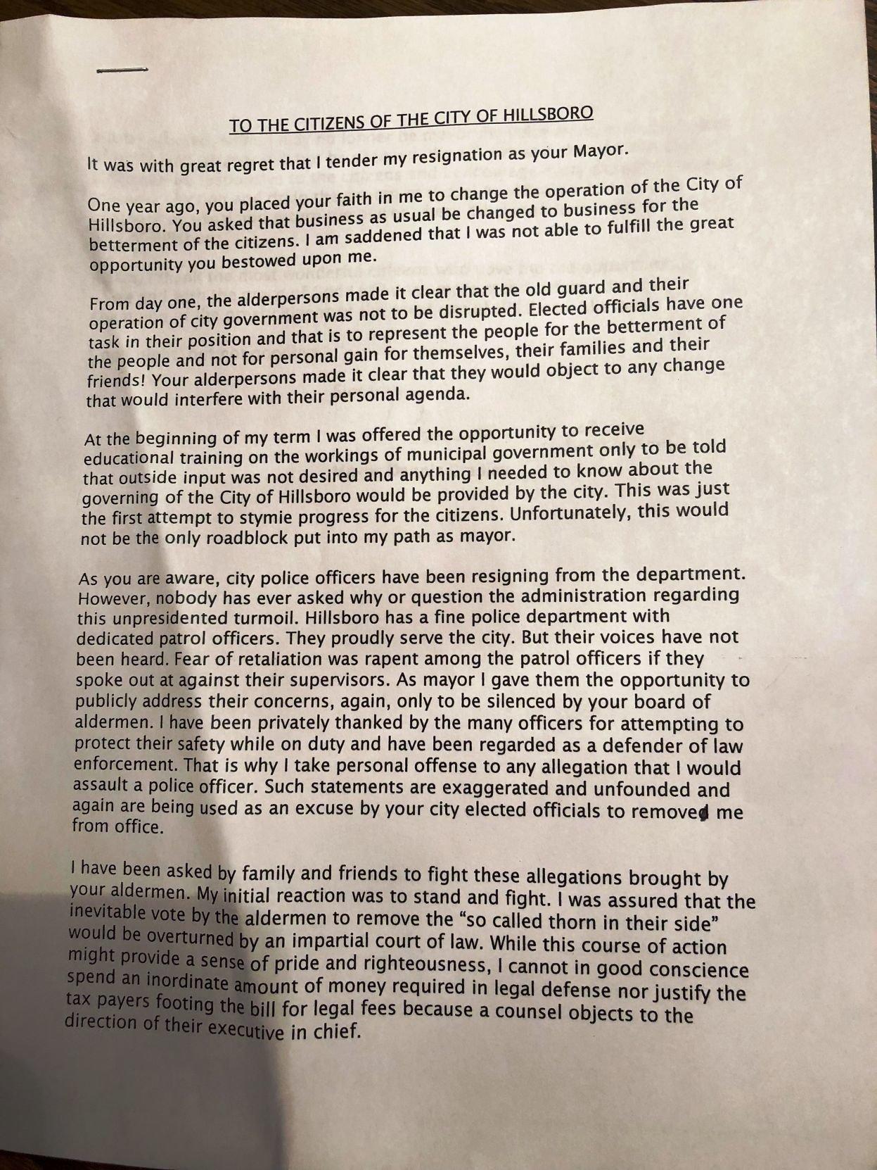 Bradley resignation letter Hillsboro mayor resigns just
