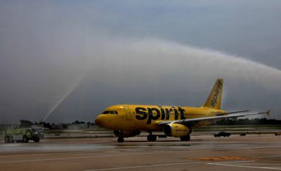 Spirit celebrates first STL departure with water cannon salute