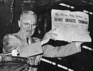 Nov. 4, 1948 • Truman ' s St. Louis stop ergab ein Foto für die Ewigkeit