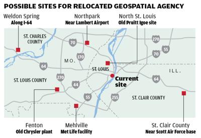 Possible sites for relocated National Geospatial-Intelligence Agency