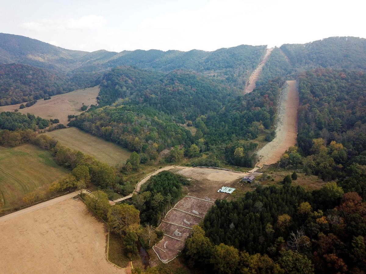 An aerial view of the under-construction Mountain Valley Pipeline near Blacksburg