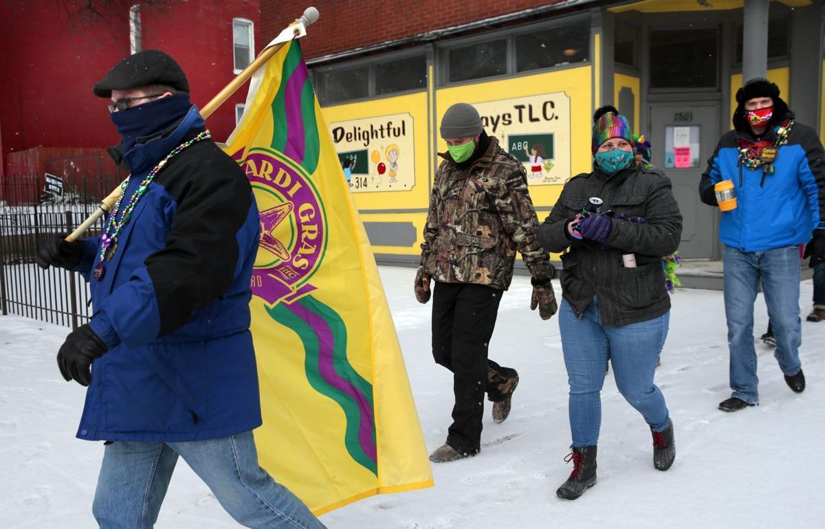 Snow parade through Fox Park