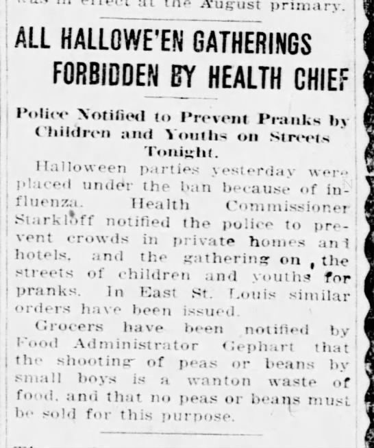 The 1918 flu caused Halloween cancellations in St. Louis. It could happen  again | Coronavirus | stltoday.com