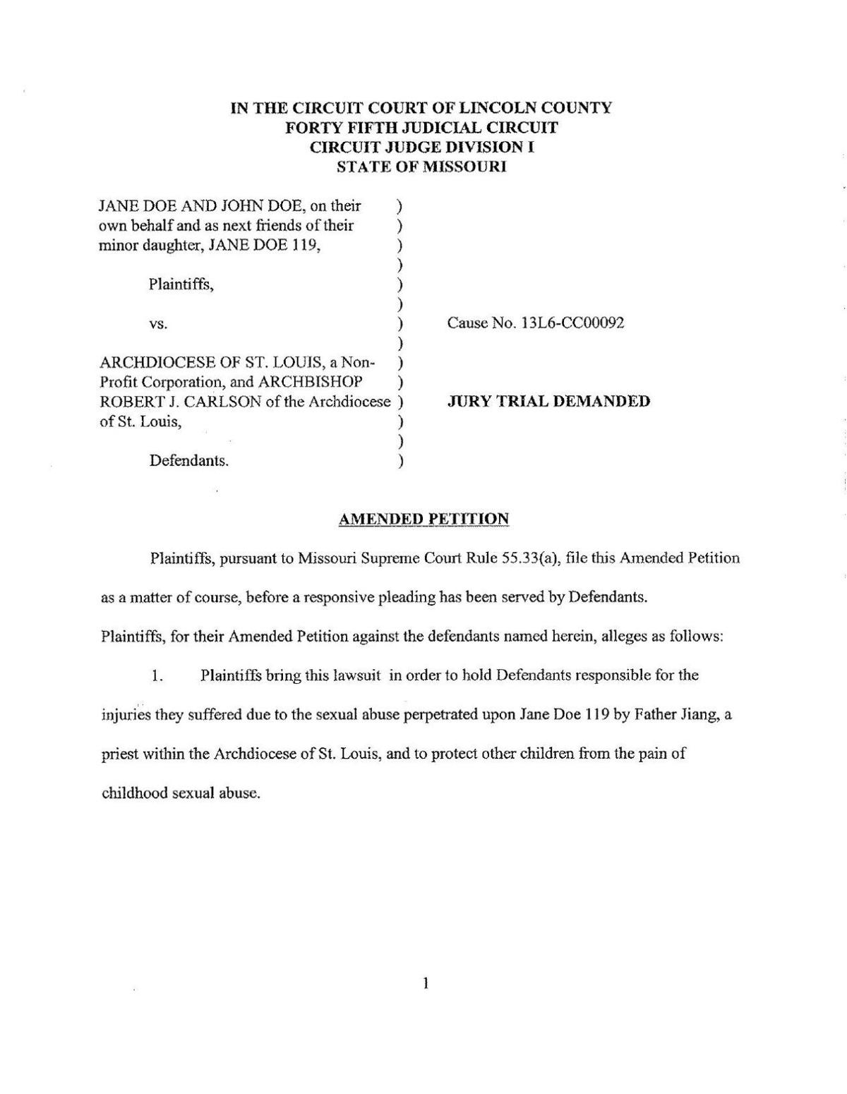 Jane Doe v St. Louis Archdiocese and Robert Carlson