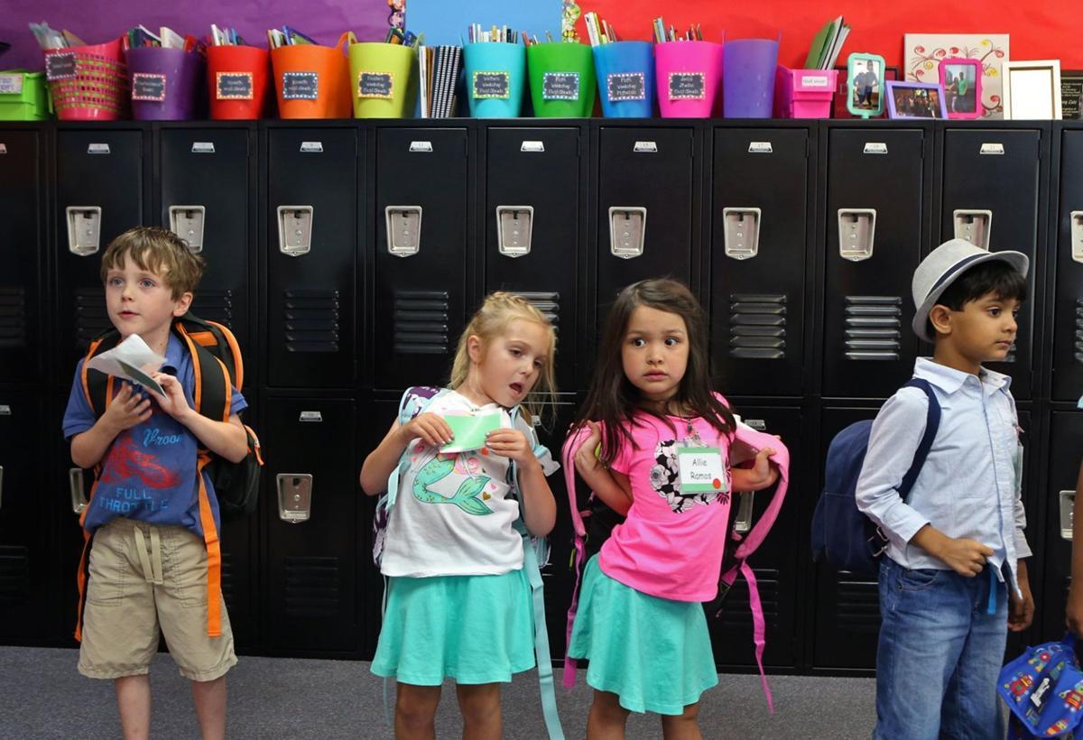 Kindergarteners line up at Oak Brook Elementary School