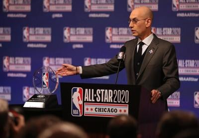 NBA Commissioner Adam Silver talks during events at NBA All-Star weekend on Feb. 15, 2020, at the United Center in Chicago.