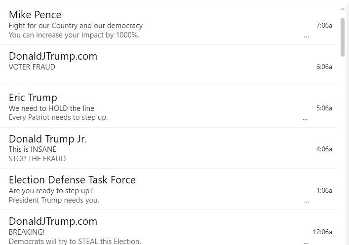 Trump fundraising emails.