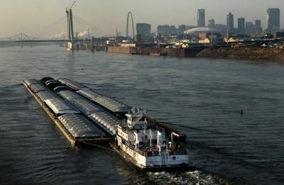 Barges moving cargo on the Mississippi