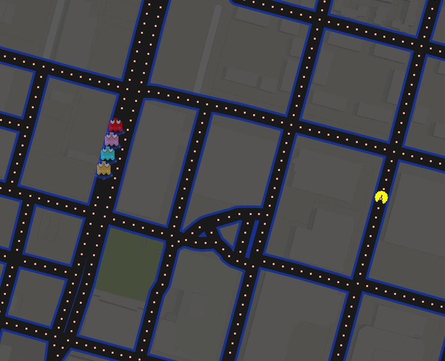 Google Maps become pac man Pac Man takes