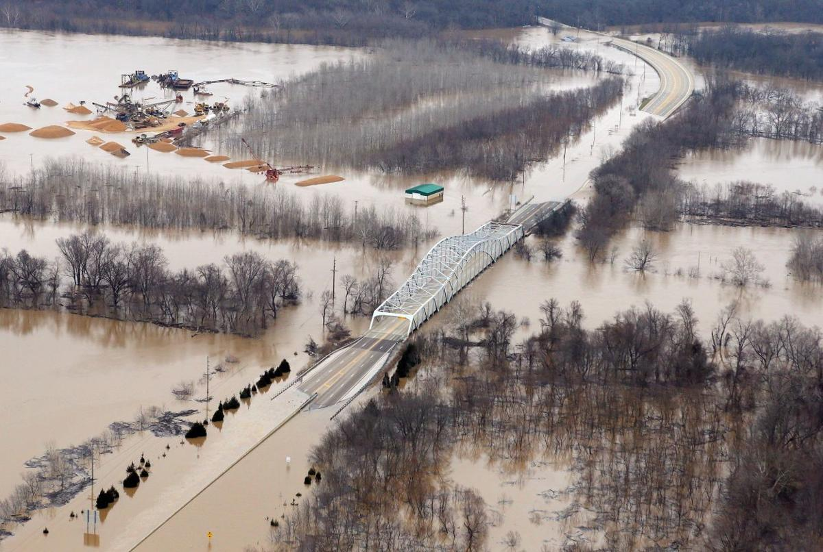 Historic flooding on the Meramec River, Tesson Ferry Road closed