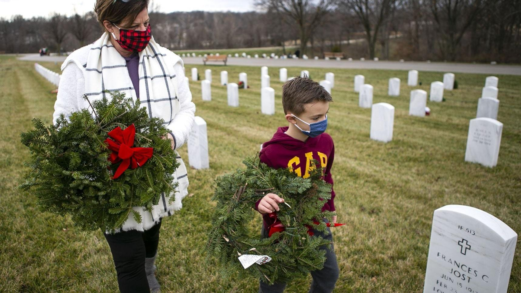 Photos: Wreaths hung on veterans' graves for National Wreaths Across America Day