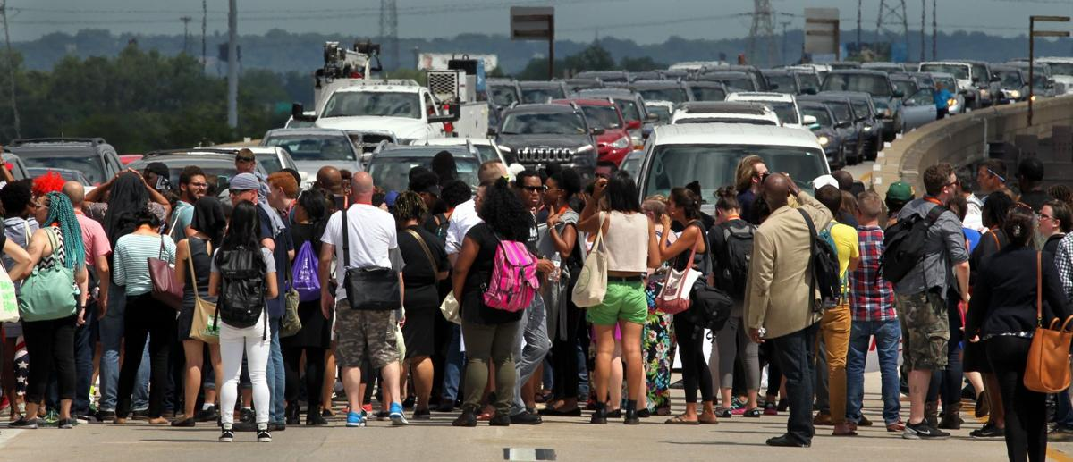 Activists block Highway 40 (Interstate 64) at Busch Stadium