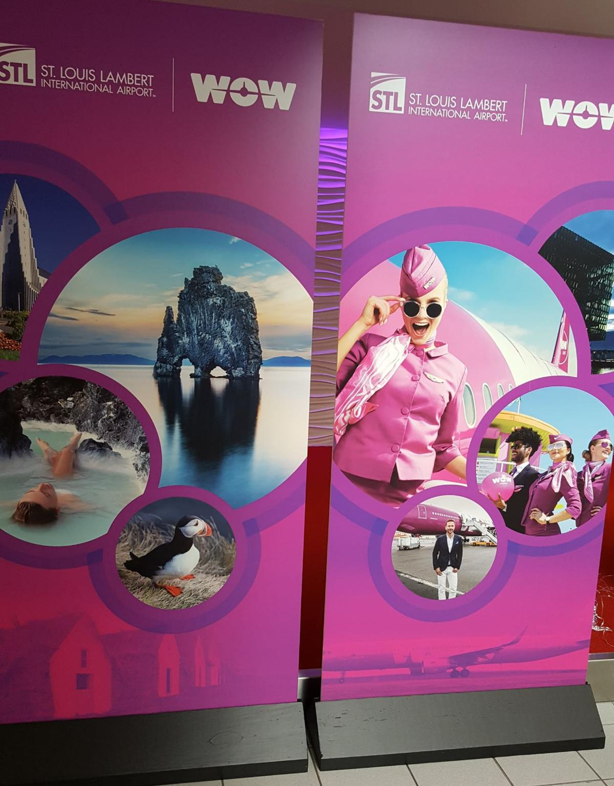 Promotional displays for Wow flights from St. Louis to Iceland