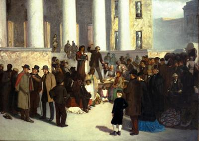 Slave sale on the courthouse steps