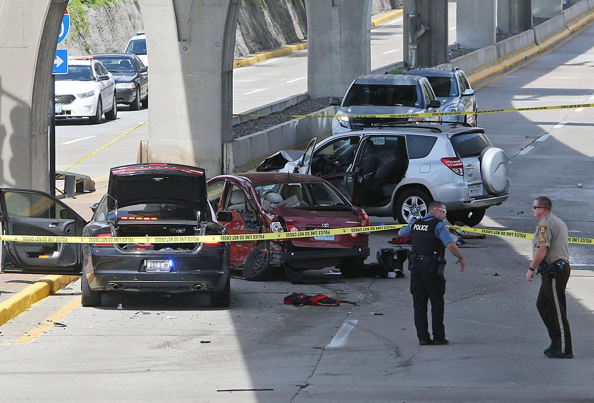 Police chase end in crash at Lambert airport, woman and child injured