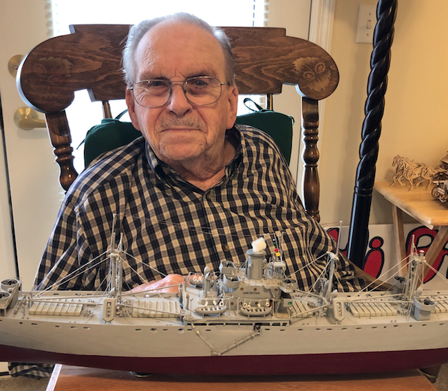 Laskowitz with model of ship