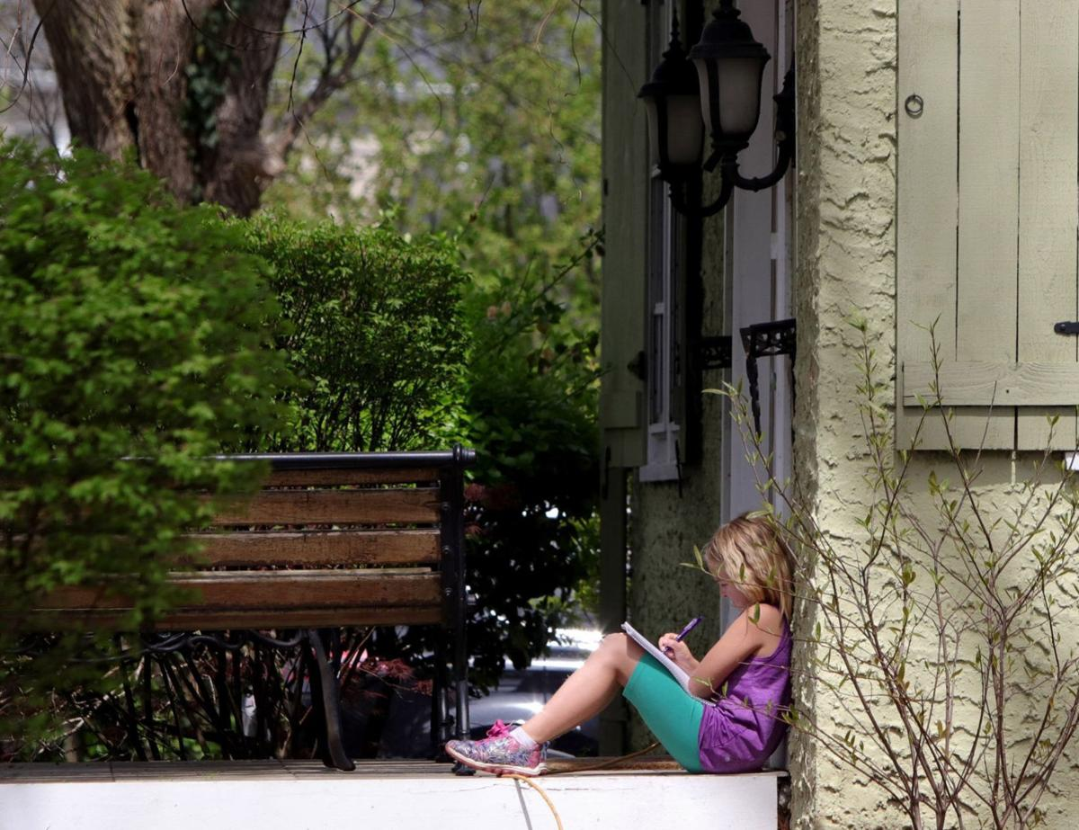 School studying on the stoop
